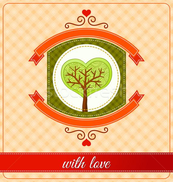 Kombinasyon kalp ağaç süs amaç Stok fotoğraf © riedjal