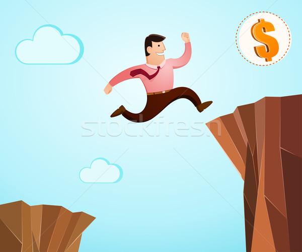 успех прыжок в высоту утес доллара прыжки уверенность Сток-фото © riedjal
