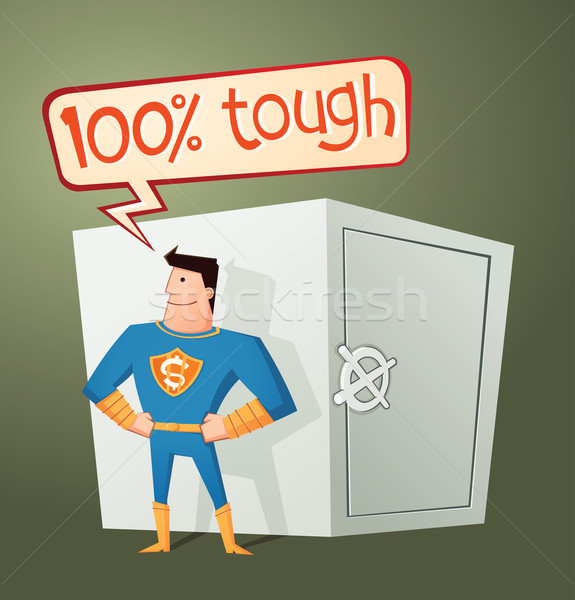 superhero guarding a deposit box Stock photo © riedjal