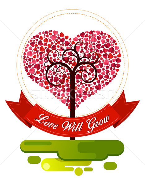 combination of heart and tree ornament Stock photo © riedjal
