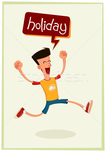 Junger Mann Urlaub aufgeregt Stock foto © riedjal