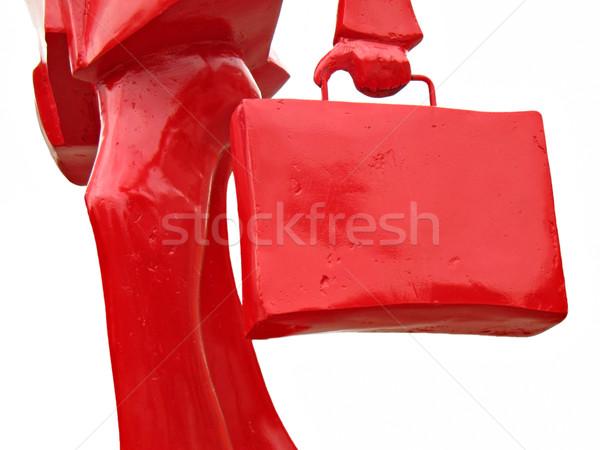 Piros üzletember izolált sziluett táska csúcsforgalom Stock fotó © rmarinello