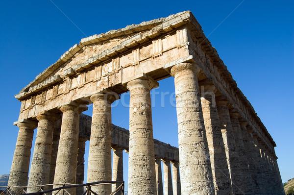 храма замечательный Сицилия 14 колонн Италия Сток-фото © rmarinello