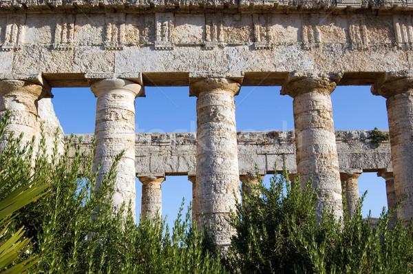 Templo maravilloso sicilia 14 columnas Italia Foto stock © rmarinello
