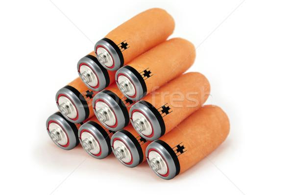 Groene energie batterijen wortelen foto schone hernieuwbare energie Stockfoto © rmarinello
