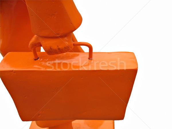 Arancione uomo d'affari isolato silhouette bag ora di punta Foto d'archivio © rmarinello