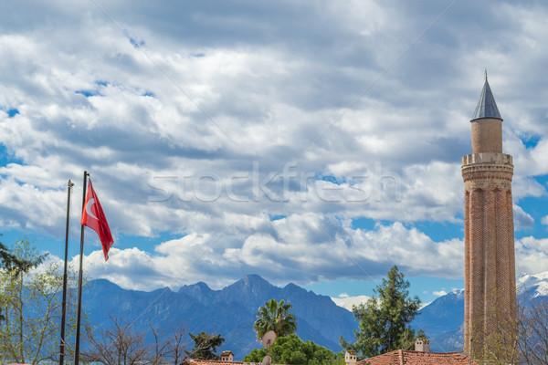 Mecset Törökország égbolt hegyek istentisztelet építészet Stock fotó © rmbarricarte