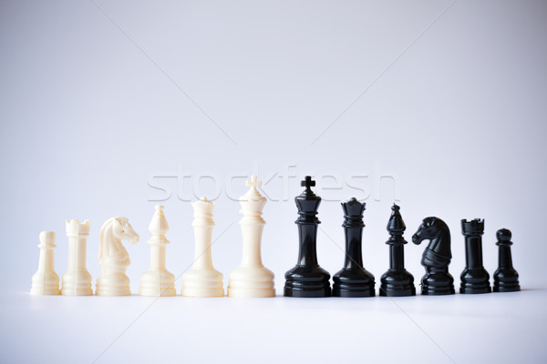 Chess set black vs white Stock photo © rmbarricarte