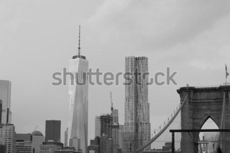 моста Storm Финансовый район дождь Skyline архитектура Сток-фото © rmbarricarte