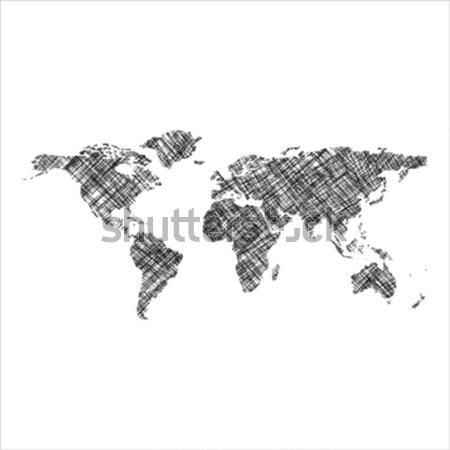 Gestreept zwarte wereldkaart abstract kunst illustratie Stockfoto © robertosch