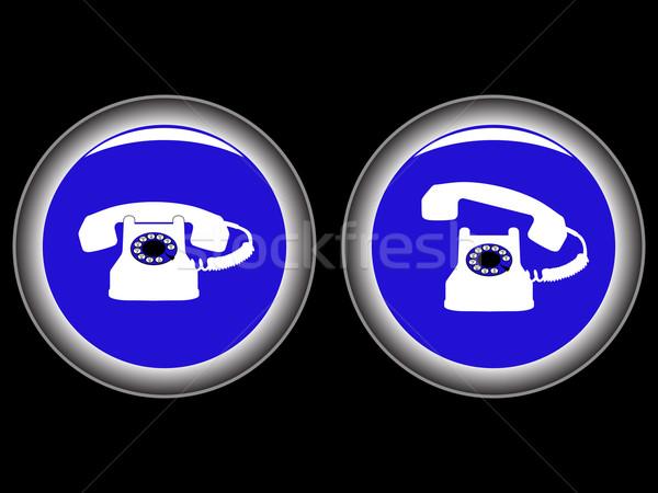 телефон синий иконки черный аннотация вектора Сток-фото © robertosch