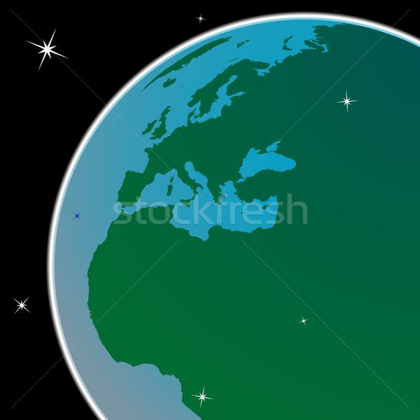 Aarde uit ruimte abstract vector kunst Stockfoto © robertosch
