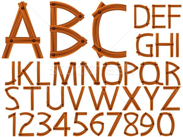 Houten alfabet nummers witte abstract vector Stockfoto © robertosch