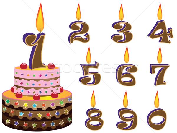 Születésnapi torta fehér absztrakt vektor művészet illusztráció Stock fotó © robertosch