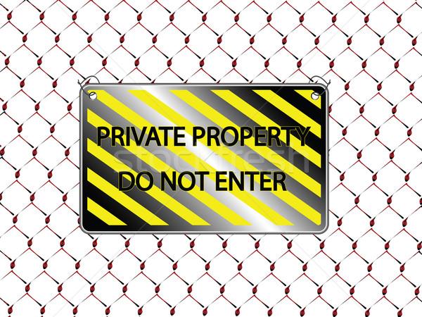 Nie napis metaliczny ogrodzenia streszczenie Zdjęcia stock © robertosch