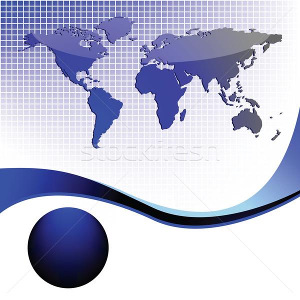 üzlet világtérkép hullámok absztrakt vektor művészet Stock fotó © robertosch