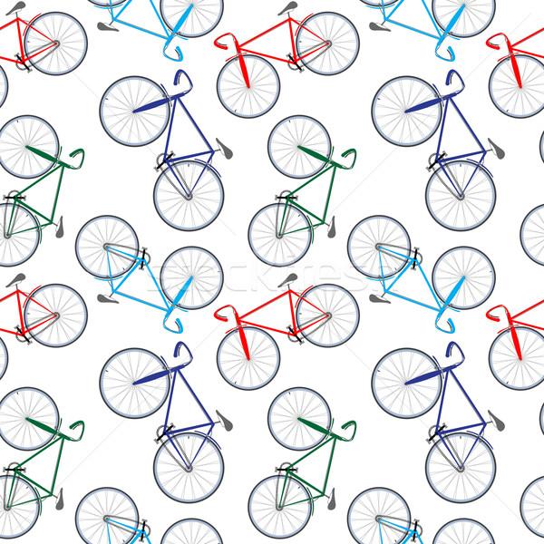 Велосипеды шаблон аннотация бесшовный текстуры вектора Сток-фото © robertosch