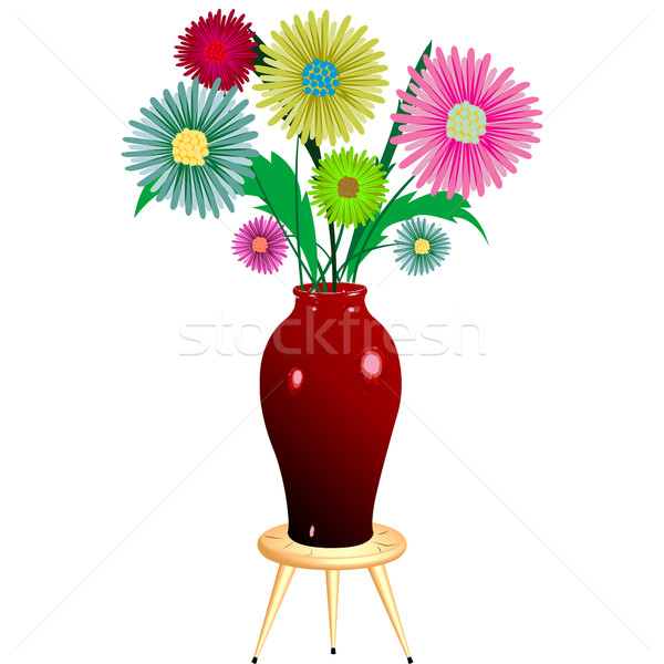 цветы деревянный стул аннотация вектора искусства Сток-фото © robertosch