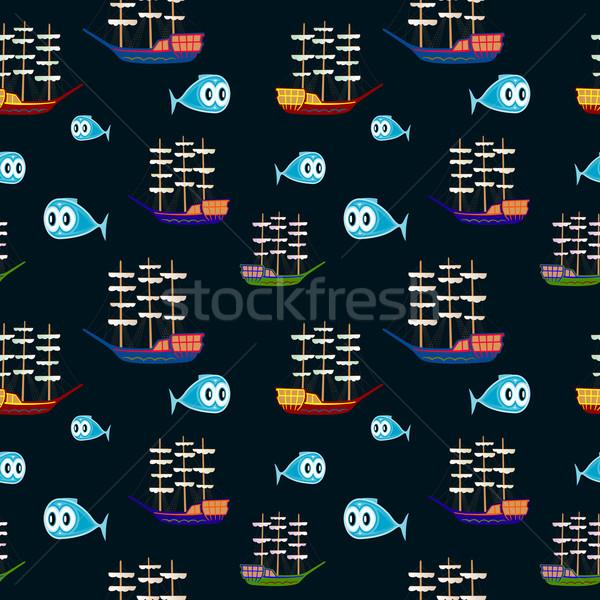 морской шаблон аннотация бесшовный текстуры вектора Сток-фото © robertosch