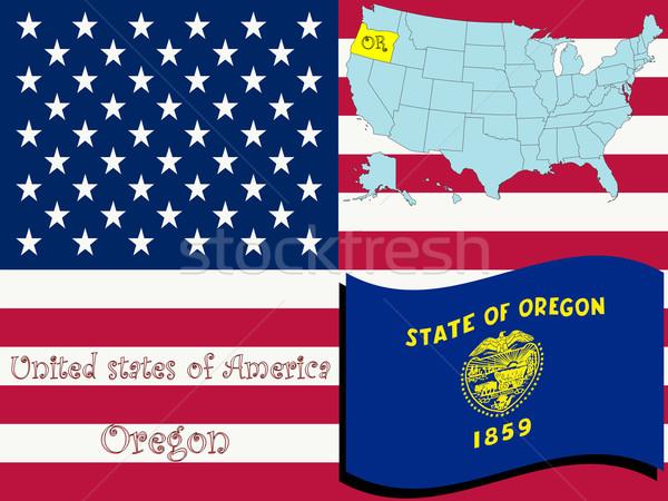 Oregon illusztráció absztrakt vektor művészet térkép Stock fotó © robertosch