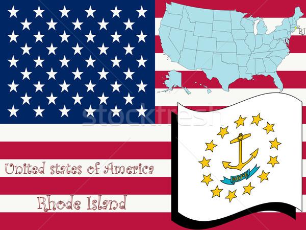 Rhode Island örnek soyut vektör sanat harita Stok fotoğraf © robertosch