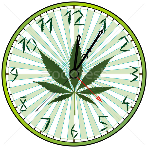 Foto stock: Canabis · verde · relógio · branco · abstrato · vetor