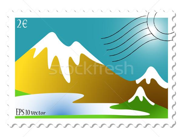Górskich krajobraz pieczęć biały streszczenie wektora Zdjęcia stock © robertosch