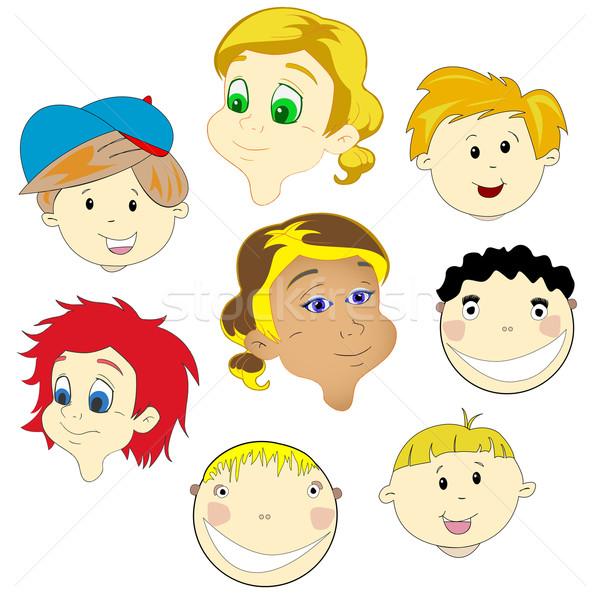детей лицах белый аннотация вектора искусства Сток-фото © robertosch