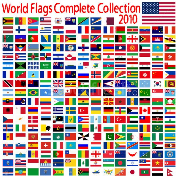 Világ zászlók gyűjtemény absztrakt vektor művészet Stock fotó © robertosch