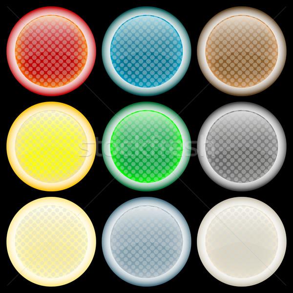 Foto stock: Teia · botões · preto · abstrato