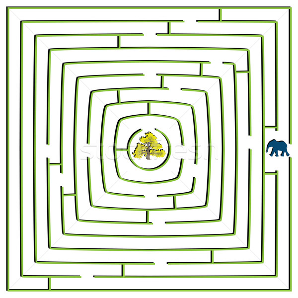 Vierkante doolhof olifant boom abstract vector Stockfoto © robertosch