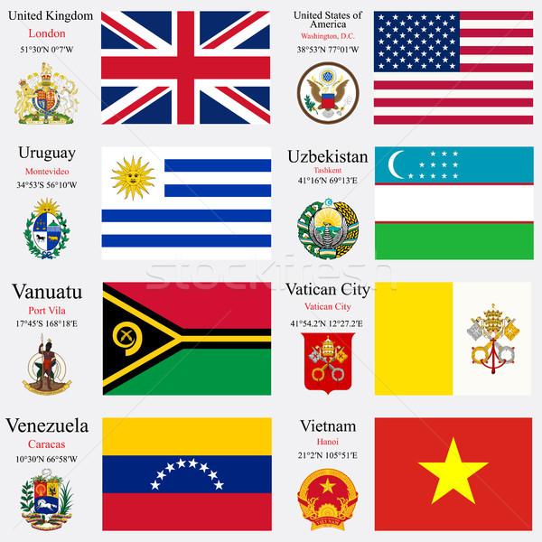 Сток-фото: Мир · флагами · набор · 26 · Великобритания · Соединенные · Штаты