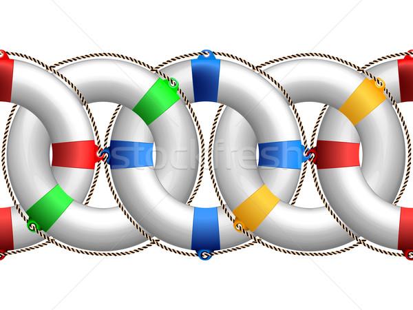 Спасательный круг горизонтальный шаблон аннотация бесшовный границе Сток-фото © robertosch
