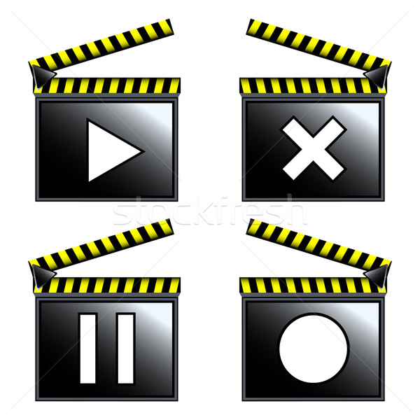 Foto stock: Filme · cinema · ícones · vetor · arte · ilustração