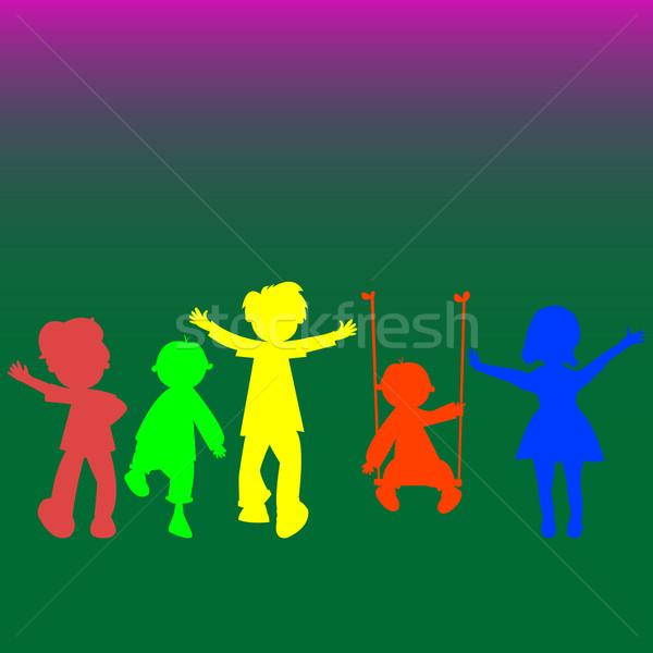 Retro mały dzieci sylwetki streszczenie sztuki Zdjęcia stock © robertosch
