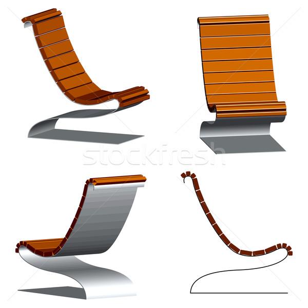 Fából készült 3D székek acél keret fehér Stock fotó © robertosch
