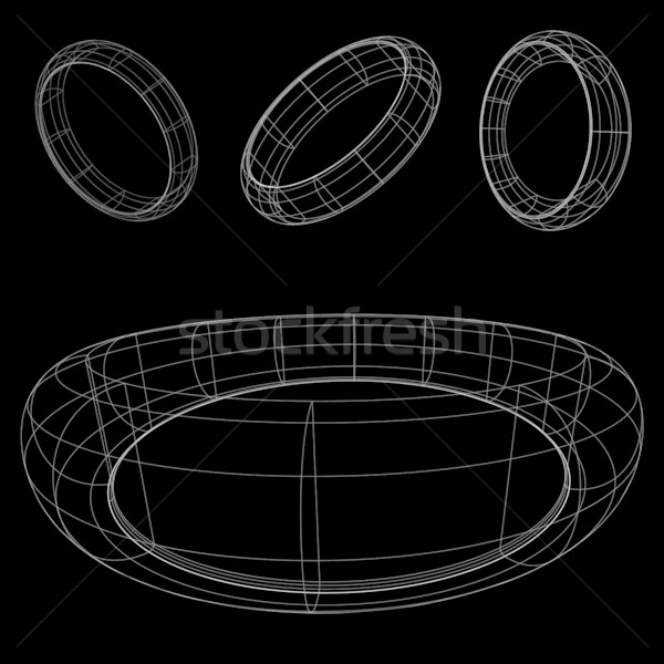 3d wireframe rings Stock photo © robertosch