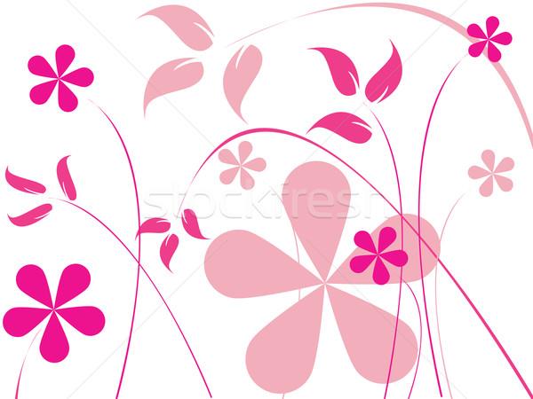 Różowy kwiaty wektora sztuki ilustracja łatwe Zdjęcia stock © robertosch