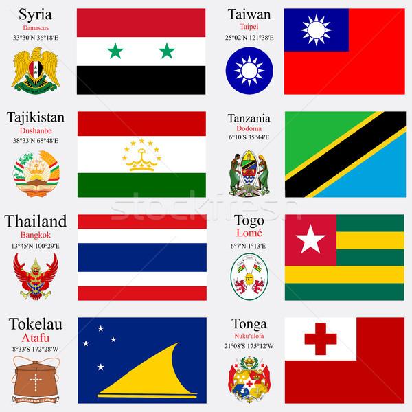 świat flagi zestaw 24 Syria Tajwan Zdjęcia stock © robertosch