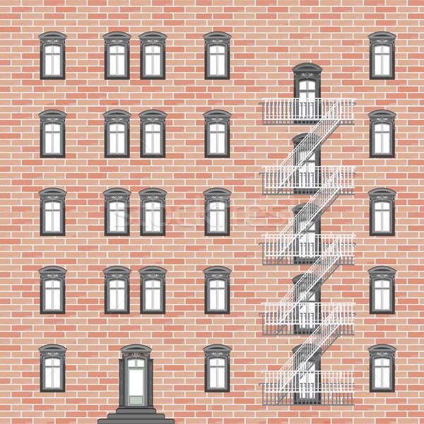 Casa emergência escada abstrato vetor arte Foto stock © robertosch