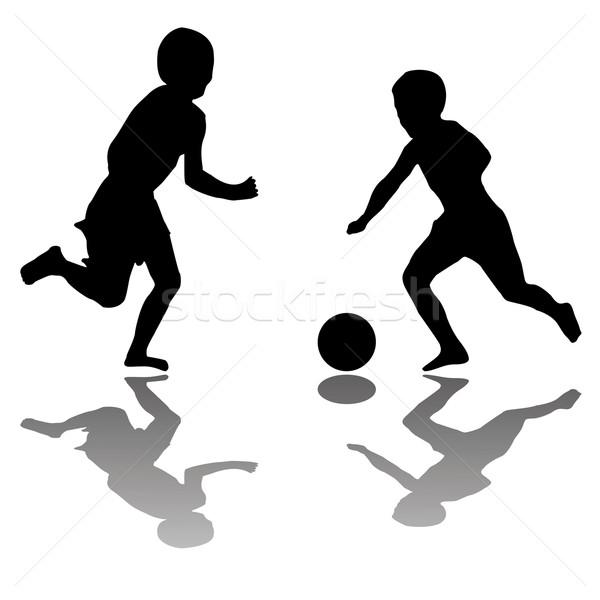 Gyerekek játszanak futball fekete izolált fehér vektor Stock fotó © robertosch