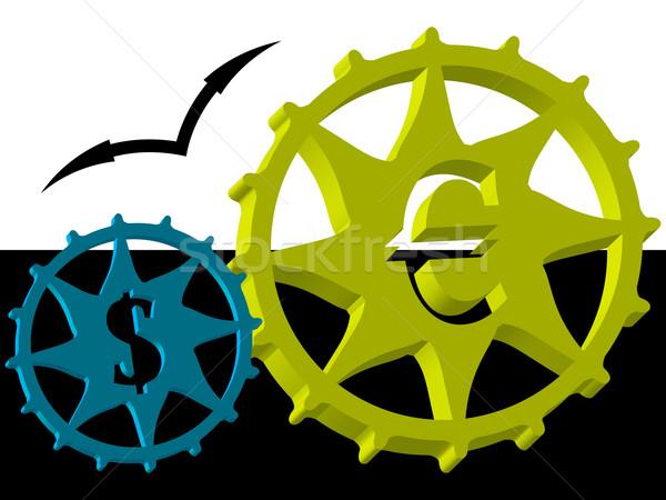 Euro dollar versnellingsbak 3D versnelling wiel Stockfoto © robertosch