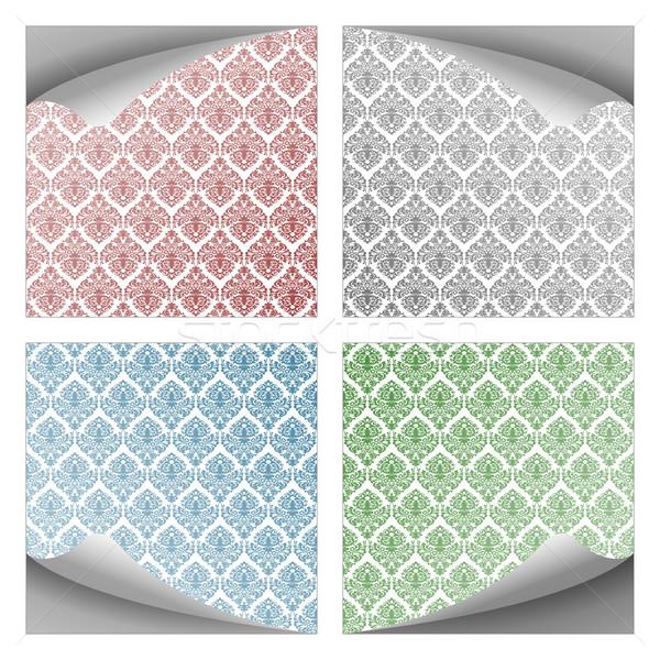 ダマスク織 紙 ノート コレクション 白 ストックフォト © robertosch