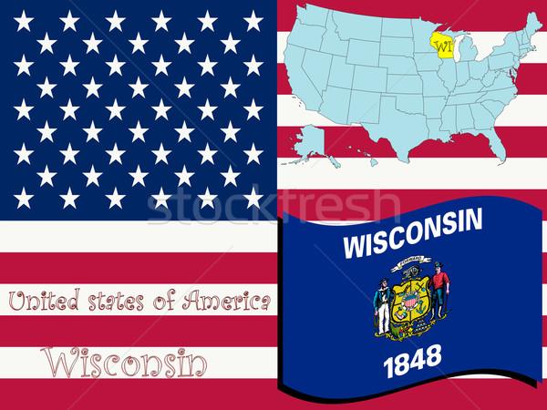 Stockfoto: Wisconsin · illustratie · abstract · vector · kunst · kaart