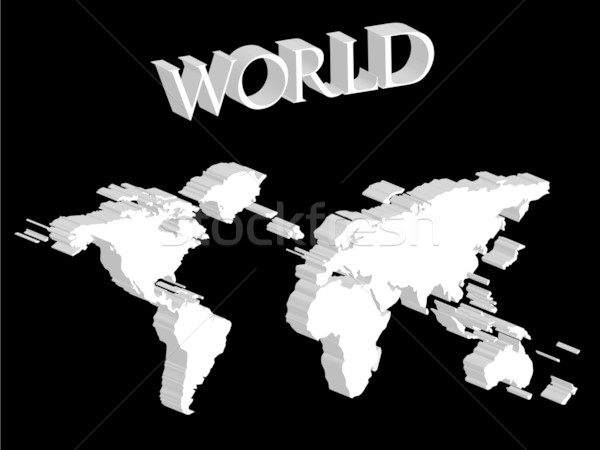 white world map expanded on black background Stock photo © robertosch