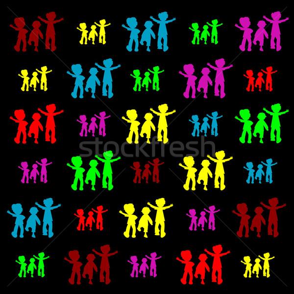 Retro kinderen silhouetten vector kunst illustratie Stockfoto © robertosch
