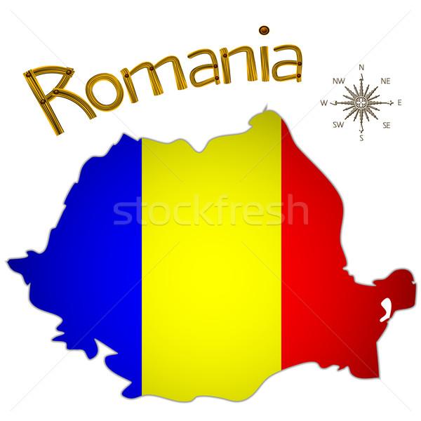 Román térkép szél rózsa fehér absztrakt Stock fotó © robertosch