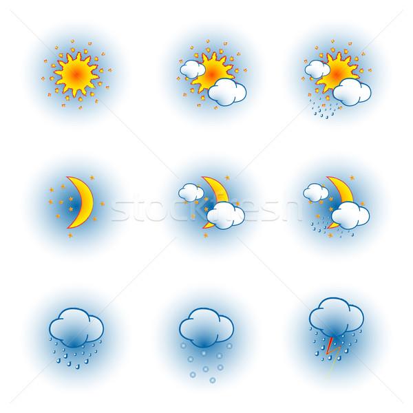 Pogoda ikona biały streszczenie wektora sztuki Zdjęcia stock © robertosch