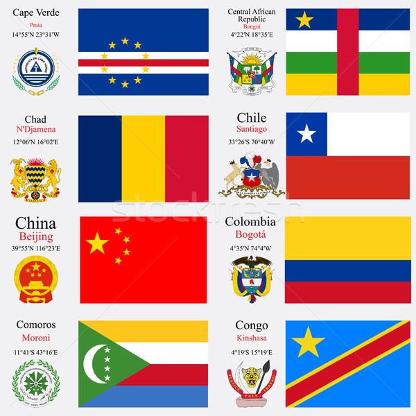 Сток-фото: Мир · флагами · набор · центральный · африканских · республика