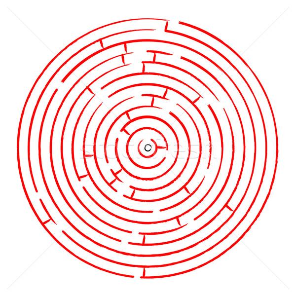 Piros labirintus fehér absztrakt vektor művészet Stock fotó © robertosch